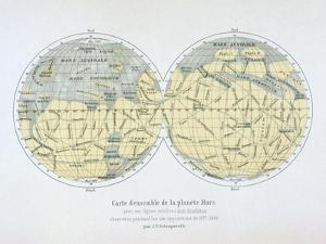 Assembled Map of the Planet Mars, from Observations Made During Six Oppositions in 1877-88 by Giovanni Schiaparelli