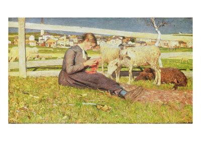 A Girl Knitting, 1888