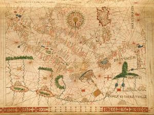 Provence and Italy, from a Nautical Atlas, 1520 (Ink on Vellum) (Detail from 330915) by Giovanni Xenodocus da Corfu
