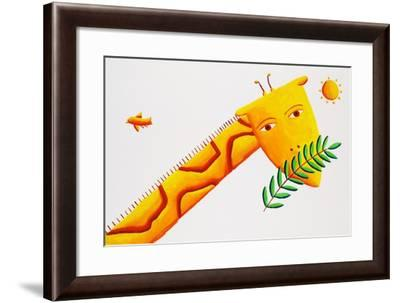 Giraffe and Leaves, 2002-Julie Nicholls-Framed Giclee Print