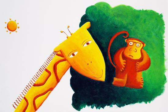 Giraffe and Monkey, 2002-Julie Nicholls-Premium Giclee Print