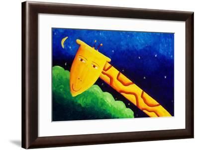 Giraffe and Moon, 2002-Julie Nicholls-Framed Giclee Print