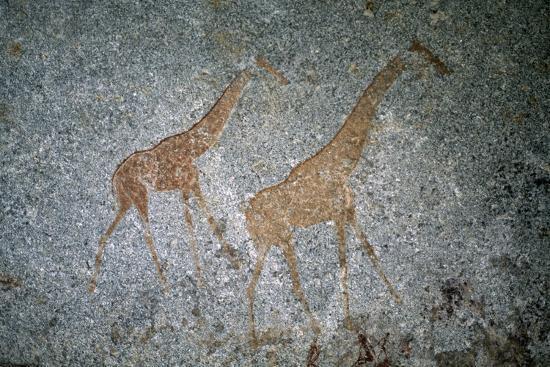 Giraffe, Bushman or San Cave Paintings, Nswatugi Cave, Matobo Hills  Photographic Print by | Art com