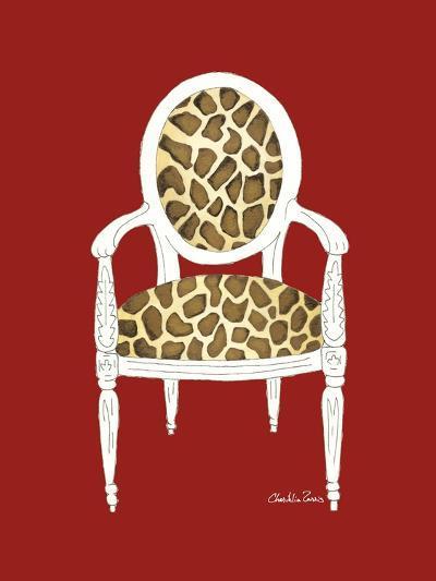Giraffe Chair on Red-Chariklia Zarris-Art Print