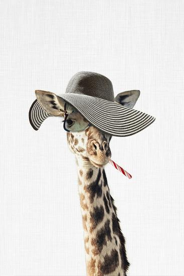 Giraffe Dressed in a Hat-Tai Prints-Art Print