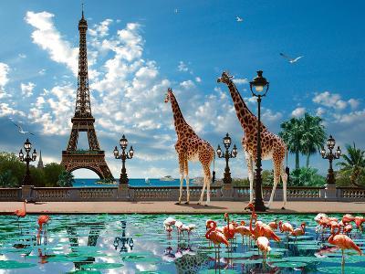 Giraffe Eiffel Bridge-Patrick Le Hec?h-Art Print