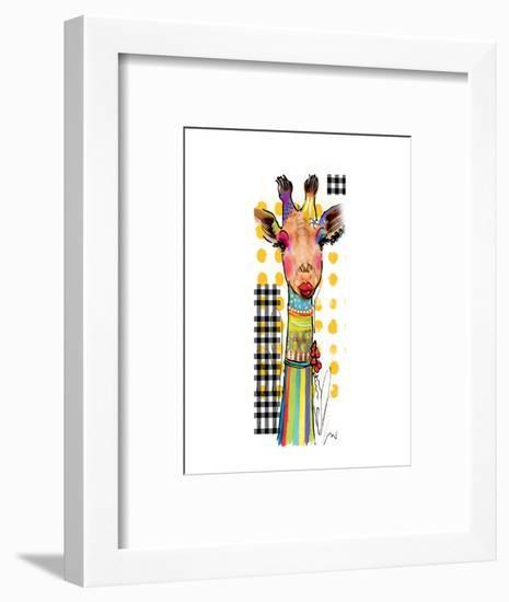Giraffe Giselle-Lucy Cloud-Framed Art Print