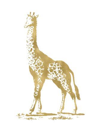 Giraffe Golden White-Amy Brinkman-Art Print