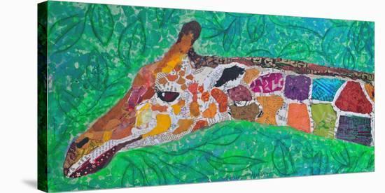 Giraffe Green--Stretched Canvas Print
