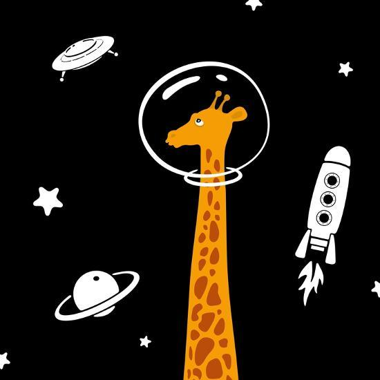 Giraffe in Space-Evgeny Bakal-Art Print