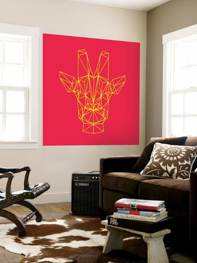 Giraffe on Red-Lisa Kroll-Wall Mural
