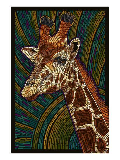 Giraffe - Paper Mosaic-Lantern Press-Art Print