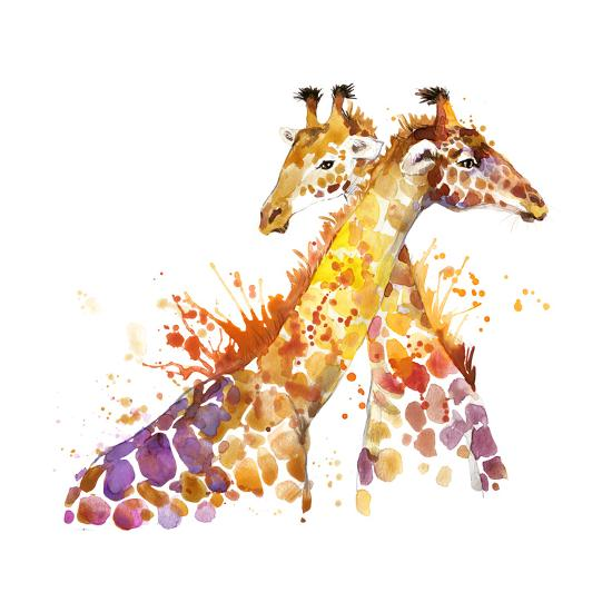 Giraffe Watercolor Illustration with Splash Textured Background.-Faenkova Elena-Art Print