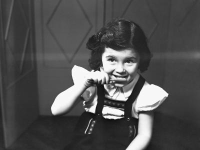 Girl (6-7) Brushing Teeth, (B&W)-George Marks-Photographic Print