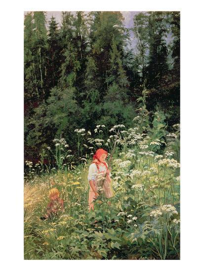 Girl Among the Wild Flowers, 1880-Olga Antonova Lagoda-Shishkina-Giclee Print