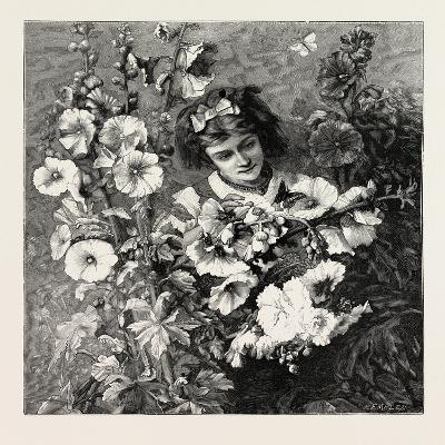 Girl Amongst Flowers, Fashion, 1882--Giclee Print