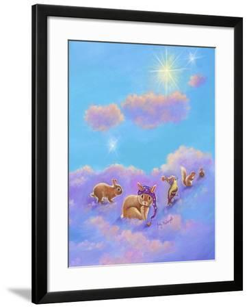 Girl and Animals in Clouds II-Judy Mastrangelo-Framed Giclee Print