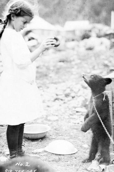 Girl and Bear Cub, C.1900-16--Photographic Print