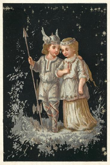 Girl and Boy in Norse or Germanic Costume--Giclee Print