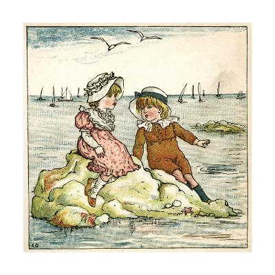 Girl and Boy Sitting on a Rock-Kate Greenaway-Giclee Print