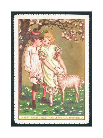 Girl and Boy with Lamb, Christmas Card--Giclee Print