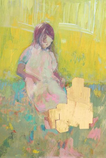 Girl and Building Blocks, 2016-David McConochie-Giclee Print