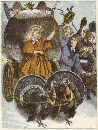 Girl and Chariot Being Pulled by Turkeys
