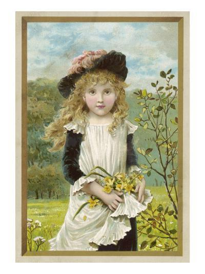 Girl and Daffodils 1880s--Giclee Print
