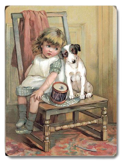 Girl and Dog on Chair--Wood Sign