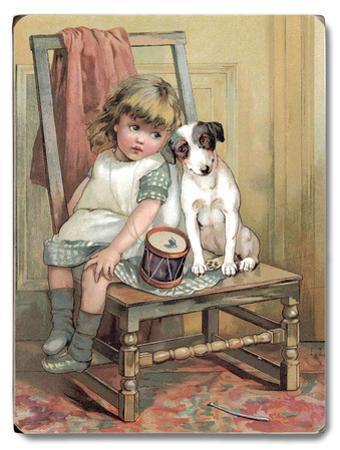 Girl and Dog on Chair