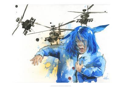 Girl and Helicopters-Lora Zombie-Art Print