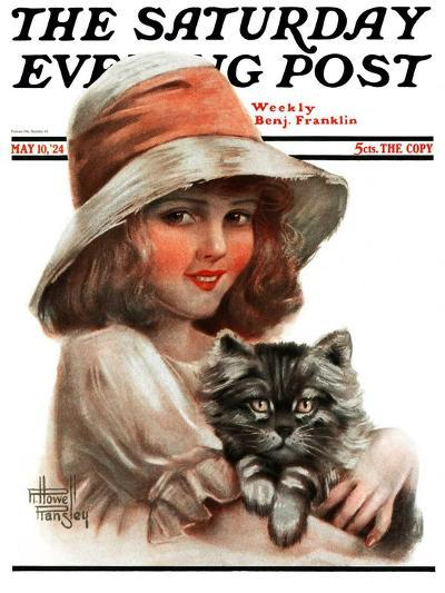 """Girl and Her Cat,"" Saturday Evening Post Cover, May 10, 1924-Robert H. Ransley-Giclee Print"