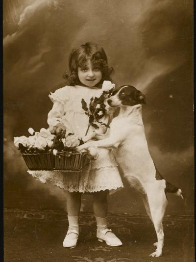 Girl and Her Pet Dog--Photographic Print