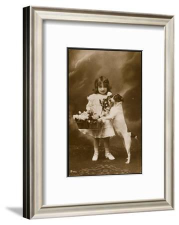 Girl and Her Pet Dog--Framed Photographic Print
