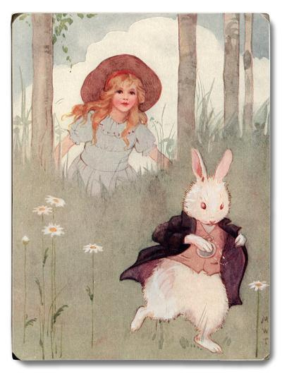 Girl and Rabbit--Wood Sign