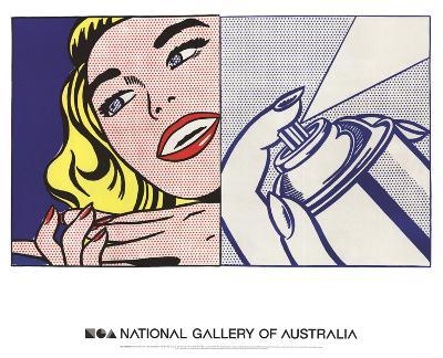 Girl and Spray Can-Roy Lichtenstein-Art Print
