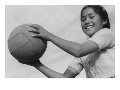 Girl and Volley Ball-Ansel Adams-Art Print