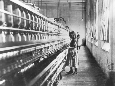 Girl at Spinning Machine-Lewis Wickes Hine-Photographic Print