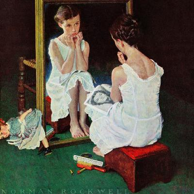 """""""Girl at the Mirror"""", March 6,1954-Norman Rockwell-Giclee Print"""