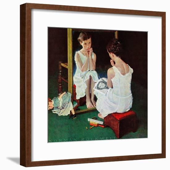 """Girl at the Mirror"", March 6,1954-Norman Rockwell-Framed Giclee Print"