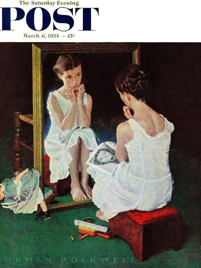 """""""Girl at the Mirror"""" Saturday Evening Post Cover, March 6,1954-Norman Rockwell-Giclee Print"""