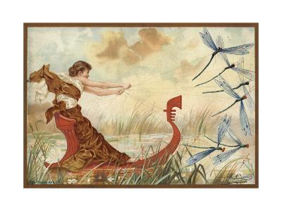 Girl Being Pulled Through the Water by May Flies--Giclee Print