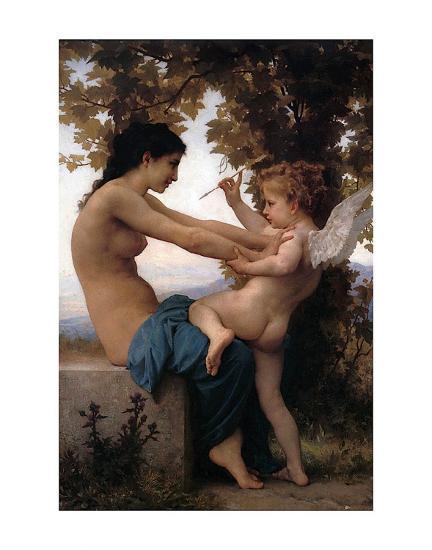 Girl Defending Herself Against Love-William Adolphe Bouguereau-Art Print