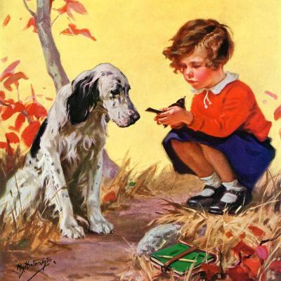 """Girl, Dog and Injured Bird,""November 1, 1935-Henry Hintermeister-Giclee Print"