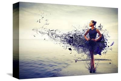 Girl Dress Becomes Paint &Pier--Stretched Canvas Print