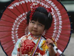 Girl Dressed in Kimono, Shichi-Go-San Festival (Festival for Three, Five, Seven Year Old Children)