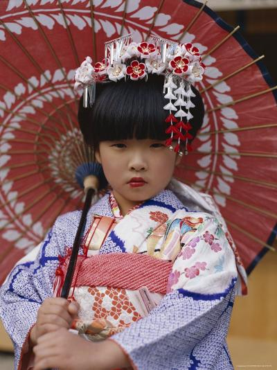 Girl Dressed in Kimono, Shichi-Go-San Festival (Festival for Three, Five, Seven Year Old Children)--Photographic Print