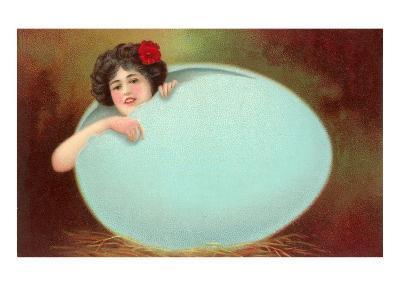 Girl Emerging from Cracked Egg--Art Print