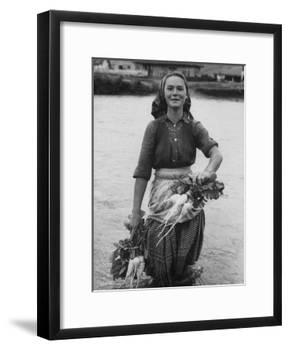 Girl Farm Worker Washing Turnips from River, on Collective Farm-Paul Schutzer-Framed Photographic Print