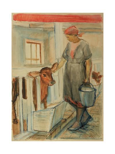Girl Feeding a Calf, 1932-Natalia Aleksandrovna Gippius-Giclee Print